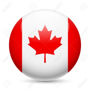 Flag of Canada as round glossy icon. Button with Canadian flag